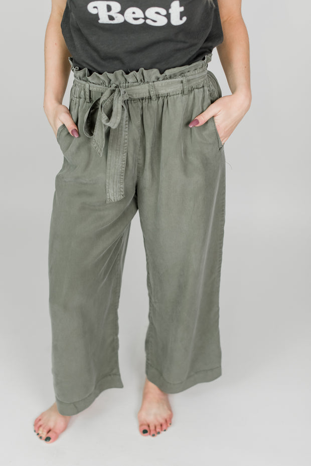 Tie Belted Tencel Pants