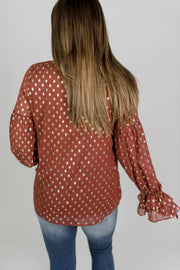 Printed Chiffon Peasant Top