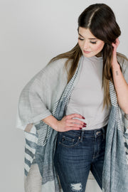 Long Striped Color Block Kimono