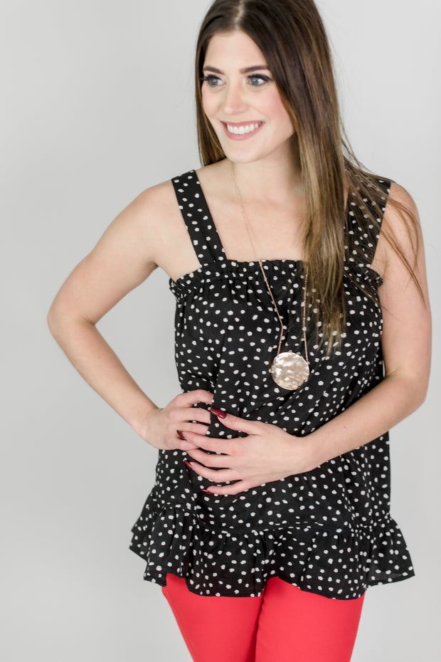 Dot Tank Top w/ Ruffle Detail