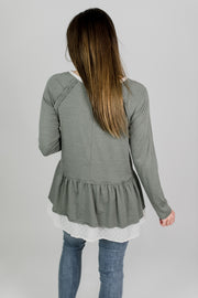 Deep V-Neck Peplum Ruffled Top