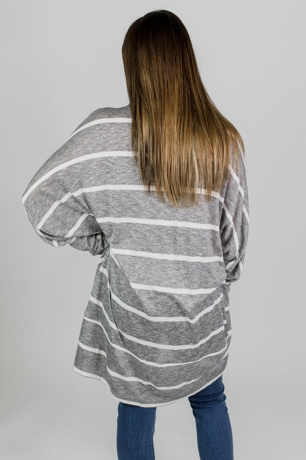 Dolman Sleeve Stripe Cardigan