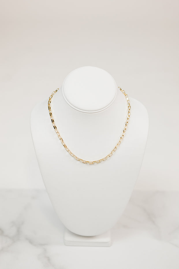 Glimmer - Large Gold Box Chain Choker