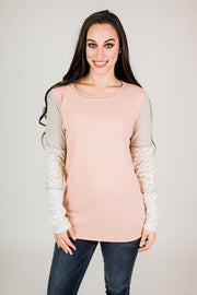 Waffle Knit Top with Leopard Detail