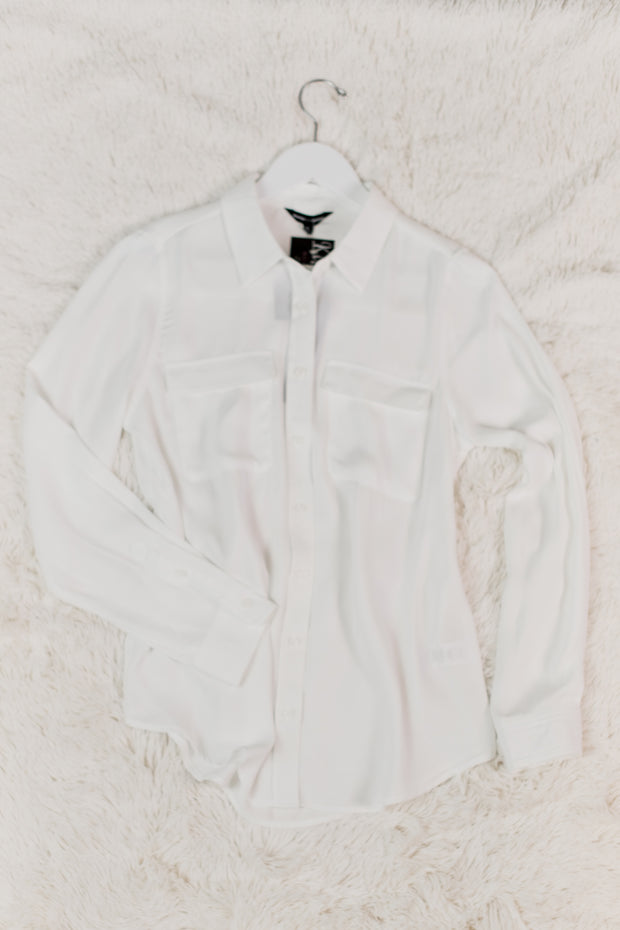 Off White Woven Long Sleeve Blouse