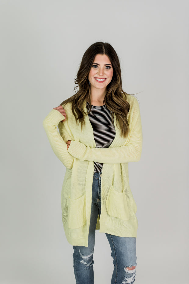 Bright Knitted Cardigan w/ Pockets