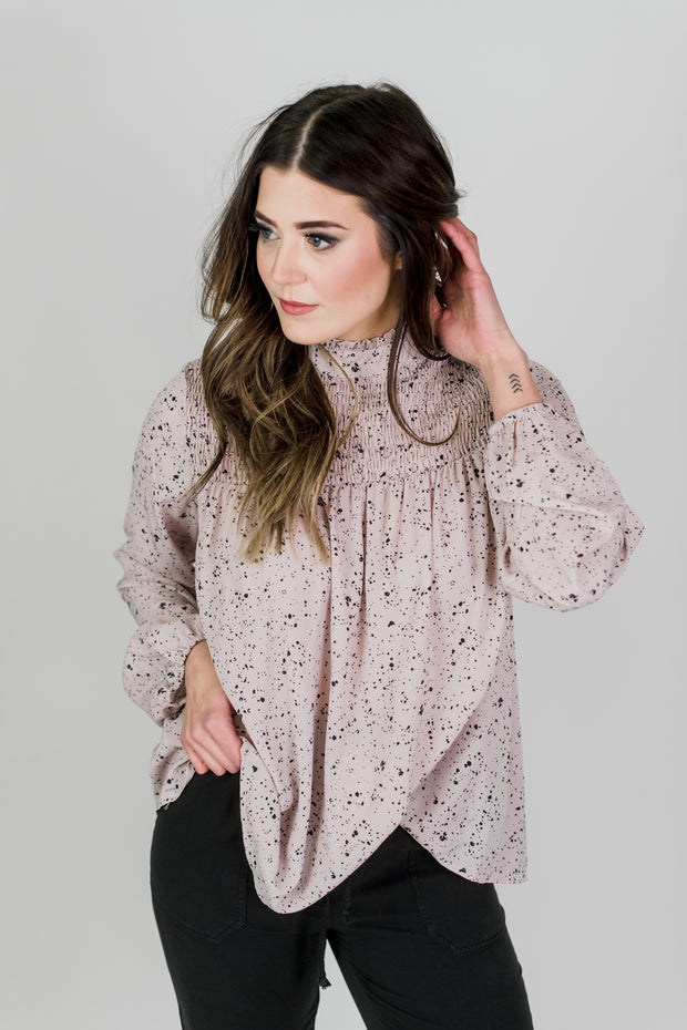 Speckled Smock Neck Top