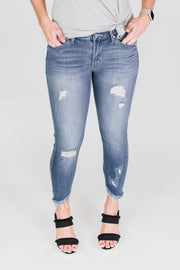 KanCan Light Wash Frayed Hem