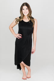 Pleated Side Hem Knit Dress