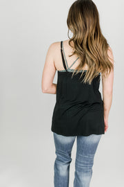 Embroidered Front Camisole Knit Top