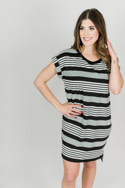 Dimensions Basic Striped Dress