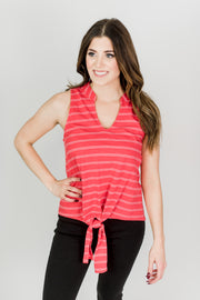 Knit Front Tie Tank Top