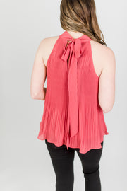 Pleat Detail Tie Back Blouse