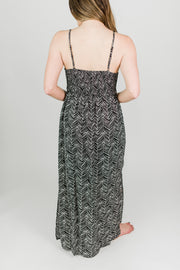 Geo Stripe Smocked Waist Maxi Dress