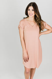 Bamboo Curved Hem Shift Dress