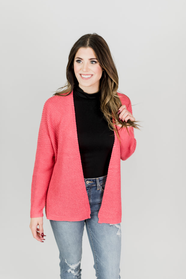 Waffle Open Front Cardigan
