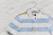 3/4 Button Rugby Baby Blue/Mustard