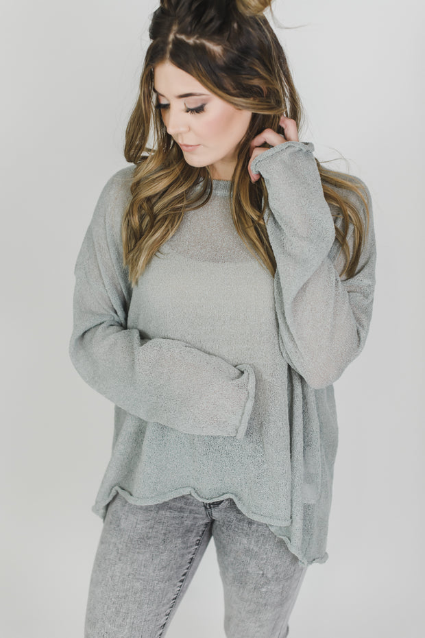 Back Hem Tie Sweater