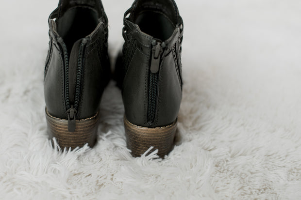 Criss Cross Detail Bootie Olive