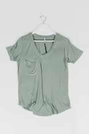 Sage Sleek Jersey Pocket Tee
