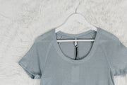 Breezy Rib Tee Dusty Blue