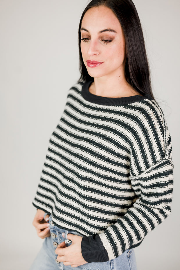 Knit Long Sleeve Crew Neck Sweater Top