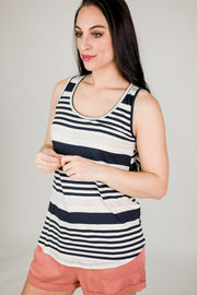 Round Neck Sleeveless Jersey Stripe Top