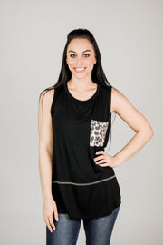 Solid Sleeveless Leopard Pocket Top