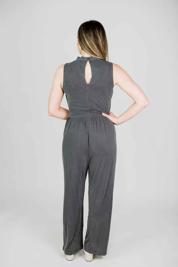 Wrap Front Sleeveless Modal Jumpsuit