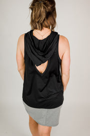 Hoodie Muscle Tank with Cut-Out Back