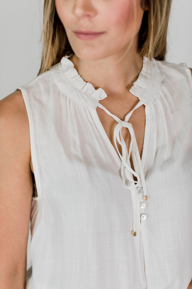 Ruffle Detailed Tie Neck Top