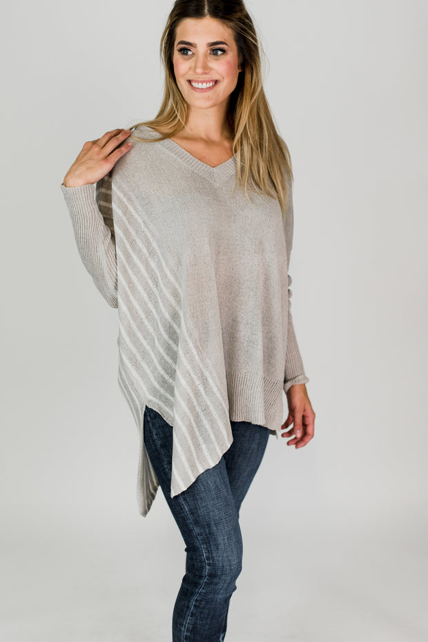 Striped Tunic Sweater Grey