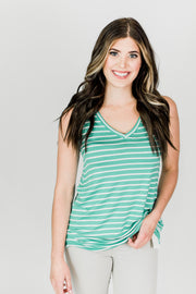 Basic V-Neck Striped Top