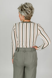 Vertical Striped Ribbed Top
