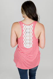 Lace Back Stripe Tank