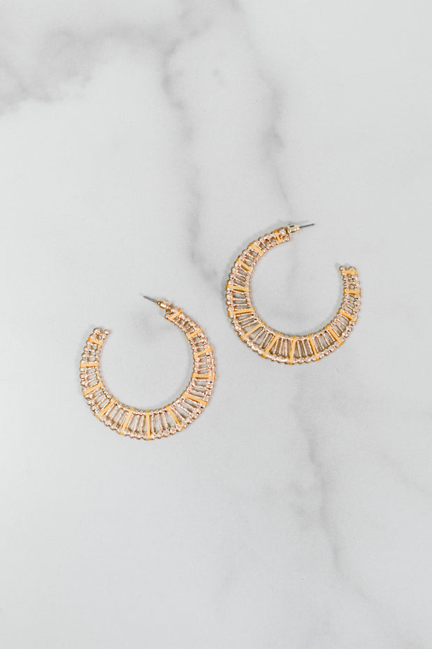 Lace Metal Hoop Earrings