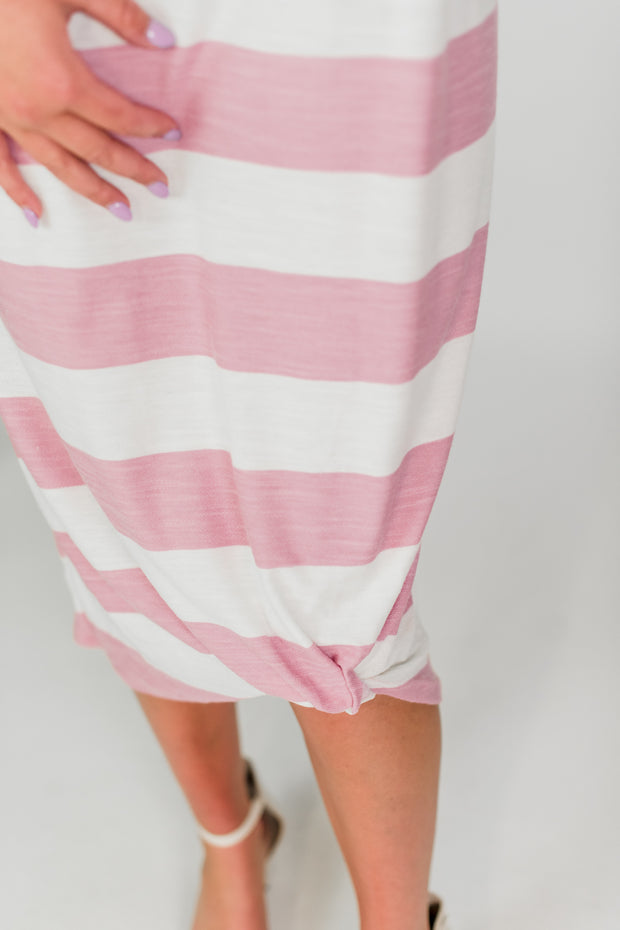 French Terry Striped Knotted Dress