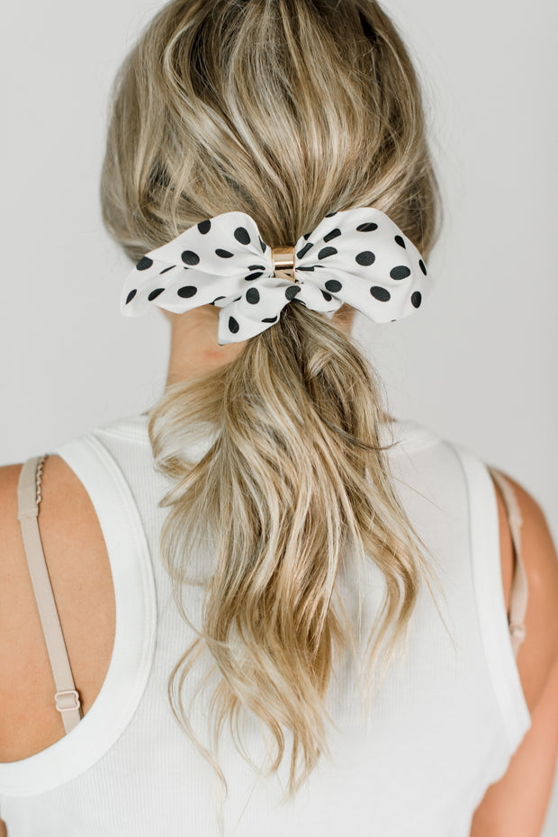 Polka Dot Tie Scrunchie White