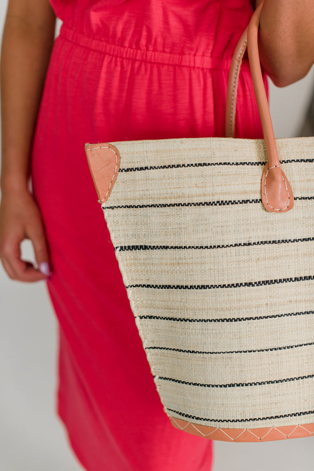 Santa Cruz Pinstripe Straw Bag
