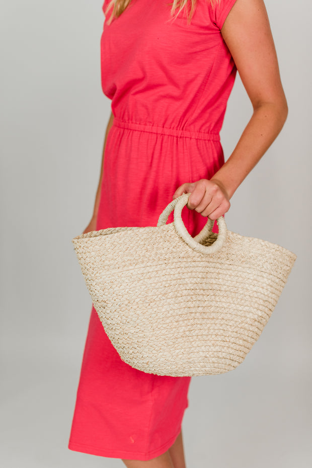 Madrone Straw Bucket Purse