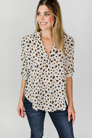3/4 Sleeve V-Neck Blouse