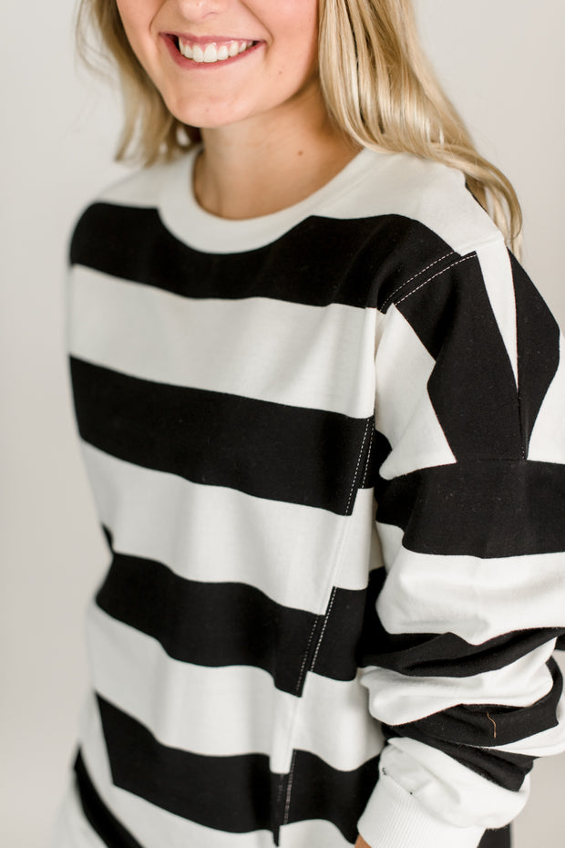 Rugby Striped Loose Sweater