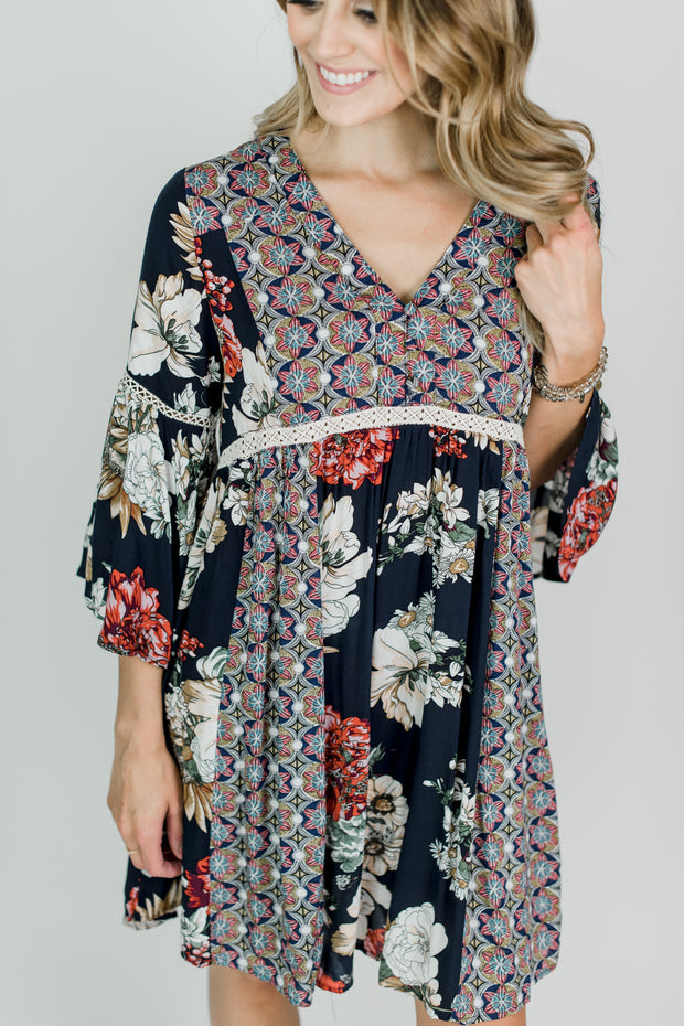 Mixed Print Babydoll Dress