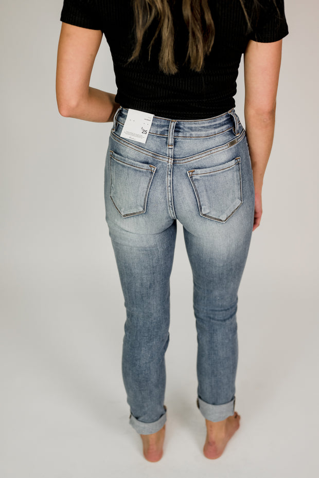 KanCan Eva 4 Button Cuffed Skinny Jeans