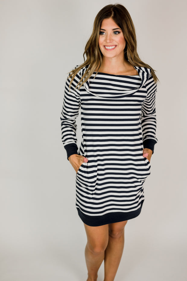Off Shoulder Stripe Pocket Dress