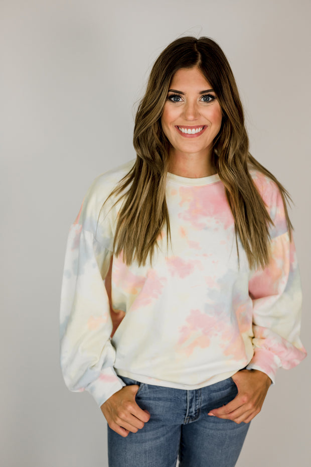 Crewneck Bubble Sleeve Tie Dye Sweatshirt