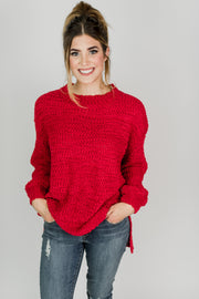 Popcorn Knit Mock Neck Sweater