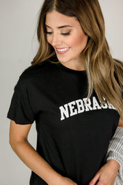 Basic Nebraska Black Tee