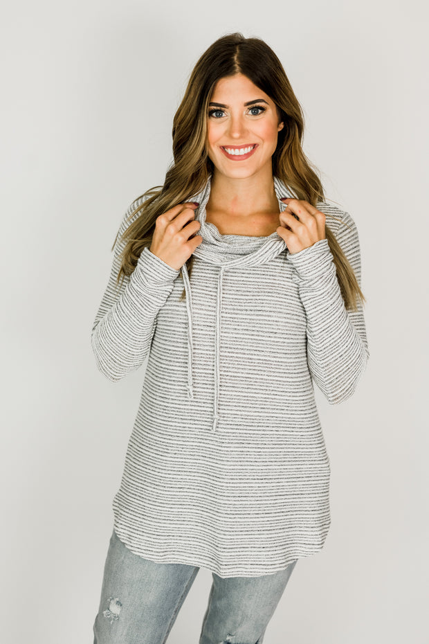 Drawstring Cowl Neck Tunic