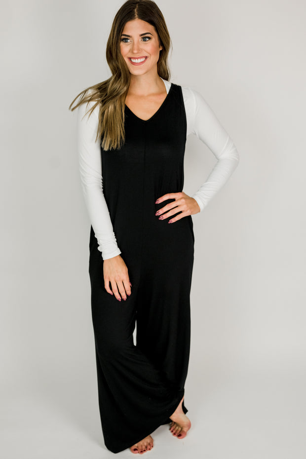Sleeveless Jumpsuit w/ Side Pockets